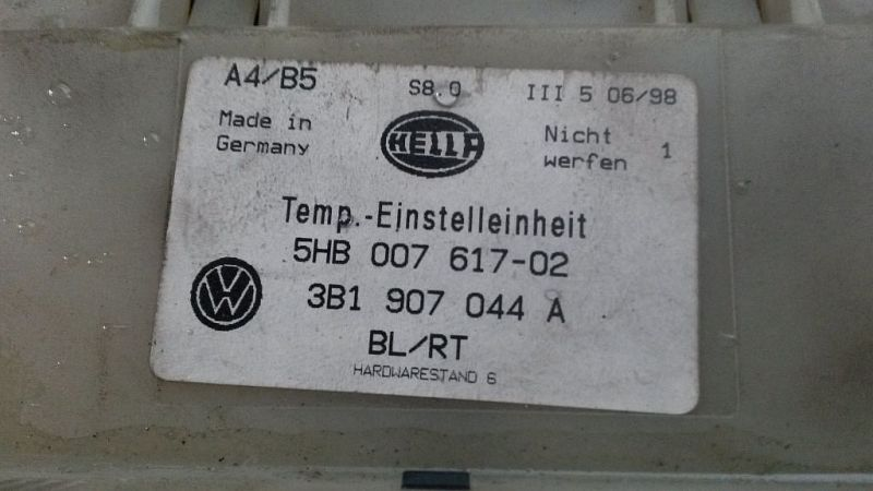 Bedienelement, Klimaanlage VW PASSAT VARIANT (3B5) 1.9 TDI